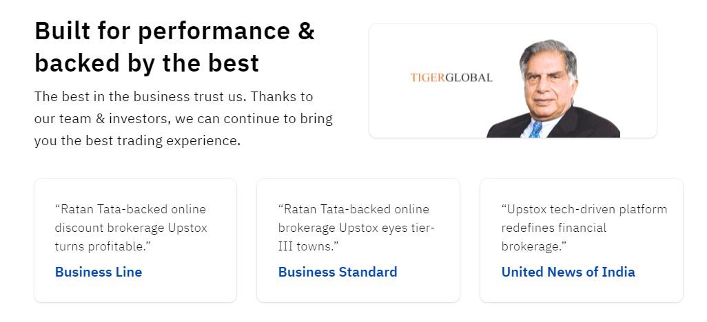 Upstox Review - Upstox is funded by Ratan Tata, Tiger Global, GVK Davix and Kalaari Capital